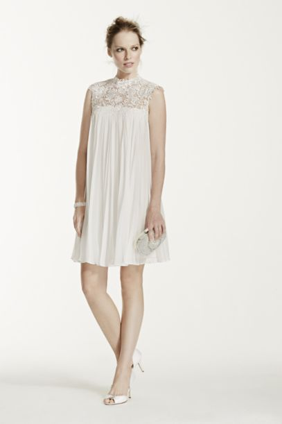 High Neck Chiffon Short Dress with Pleated Skirt - Davids Bridal