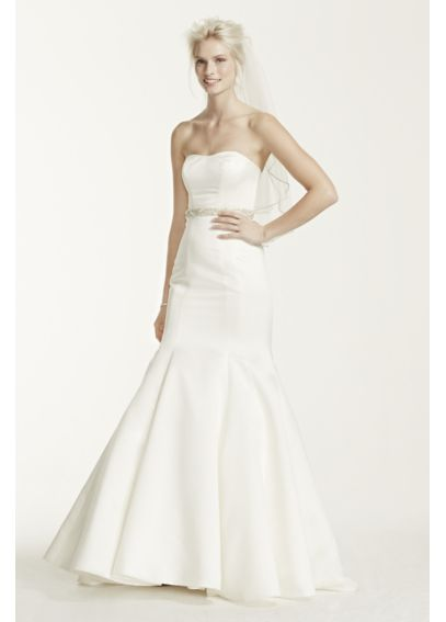 Plus Size Satin Wedding Dress with Seam Detail KP3738