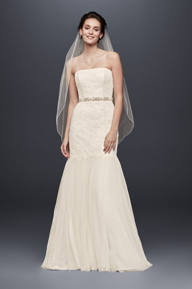 galina wedding dress strapless lace trumpet with tulle
