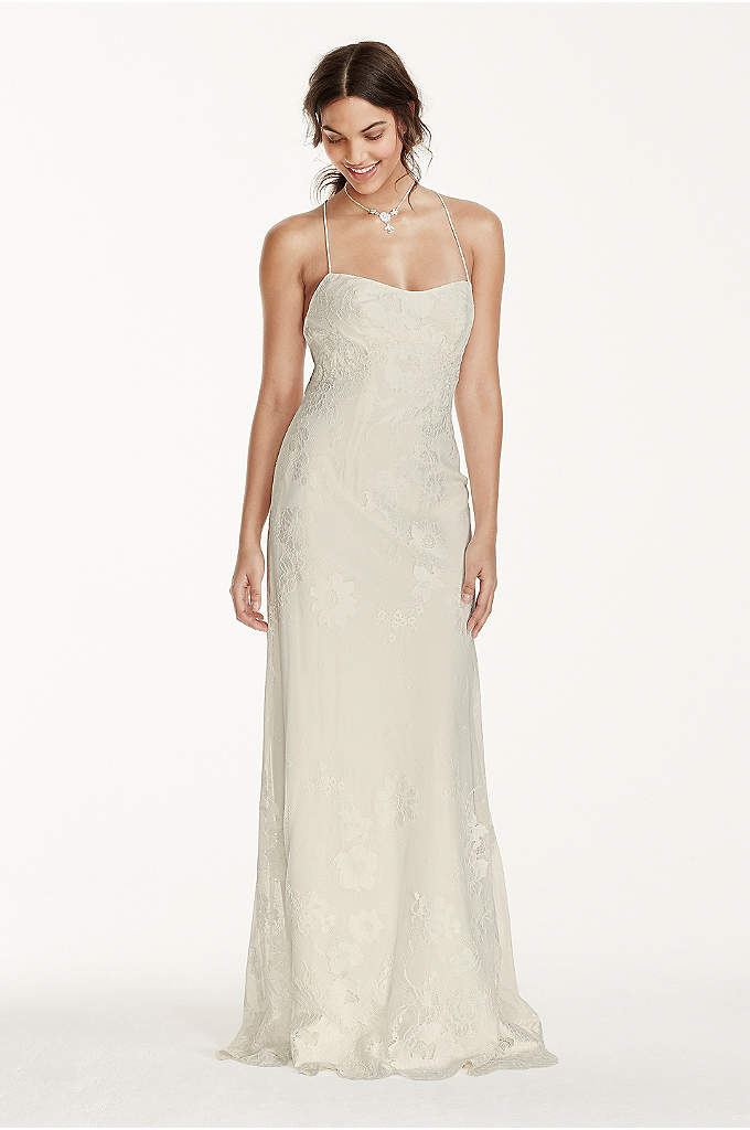 Lace Sheath Dress with Low Crisscross Back