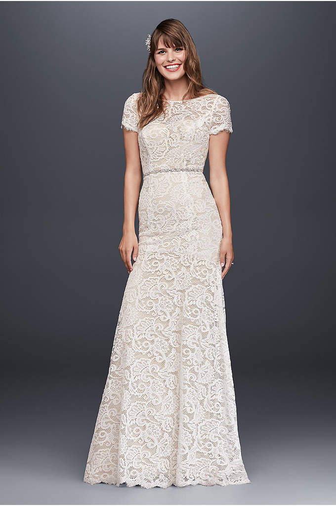 Lace Wedding Dress with Short Illusion Sleeves - This vintage-inspired allover lace sheath wedding dress flatters