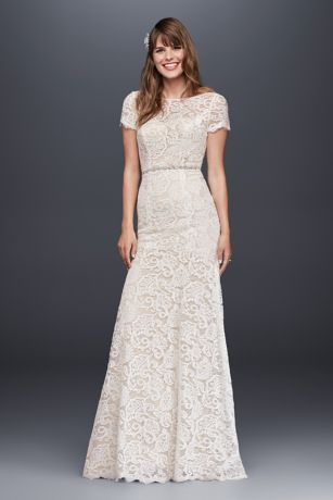 Lace high collar wedding dress with ruching and keyhole back