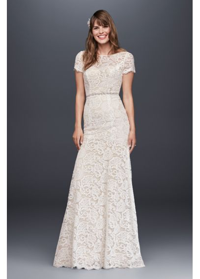 Lace Wedding Dress with Short Illusion Sleeves KP3780