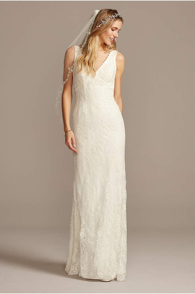 Flower Lace V-Neck Wedding Dress with Empire Waist - What's not to love about this floral lace
