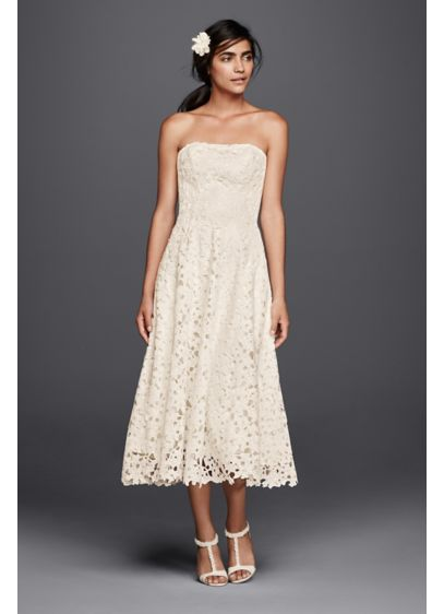 Floral Cutout Lace Tea Length Wedding Dress Davids Bridal - Mid Length Wedding Dresses
