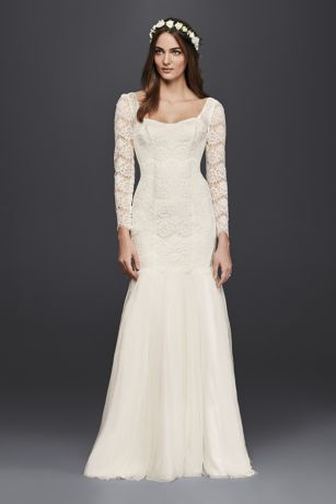 Long Sleeve Lace Mermaid Wedding Dress Davids Bridal