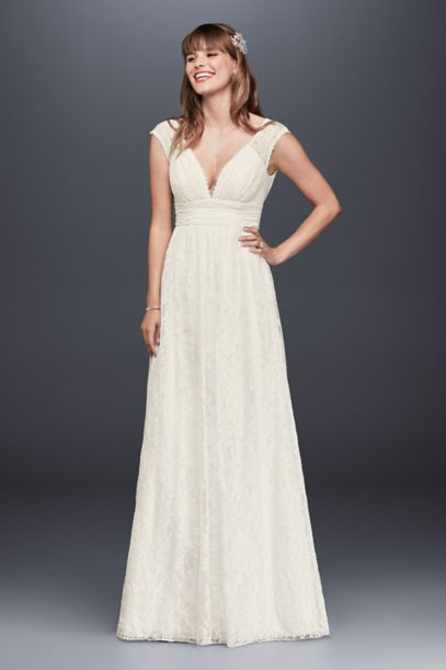 Lace Sheath Wedding Dress with Illusion Cap Sleeve - Davids Bridal
