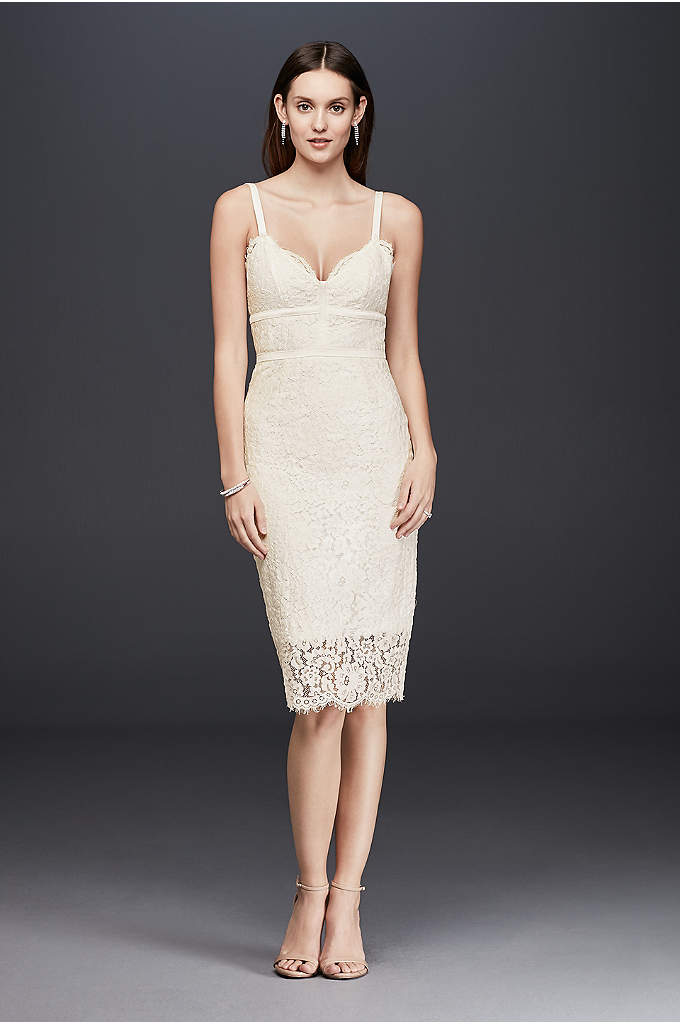 Triangle-Top Lace Midi Sheath Dress - Hitting right below-the-knee, this lace dress skims curves