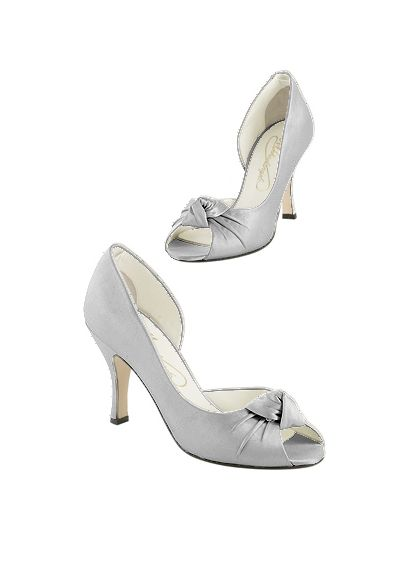 Grey (Silk Peep Toe Pump with Ruched Knot)