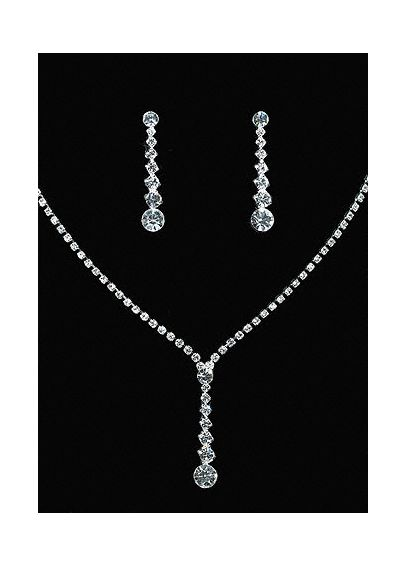 Crystal Y-Necklace with Graduated Crystal Earrings L-ZNE589