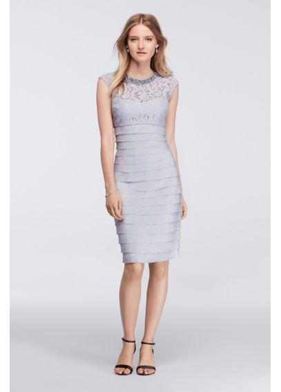 Short Dress with Beaded Neckline and Layered Skirt L1918M