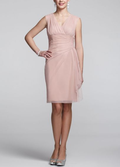 Cap Sleeve V Neck Dress with Side Ruching L3C91M