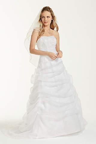 Vestido de Novia de Drapeado de Organza Y Encaje Con Pedrería