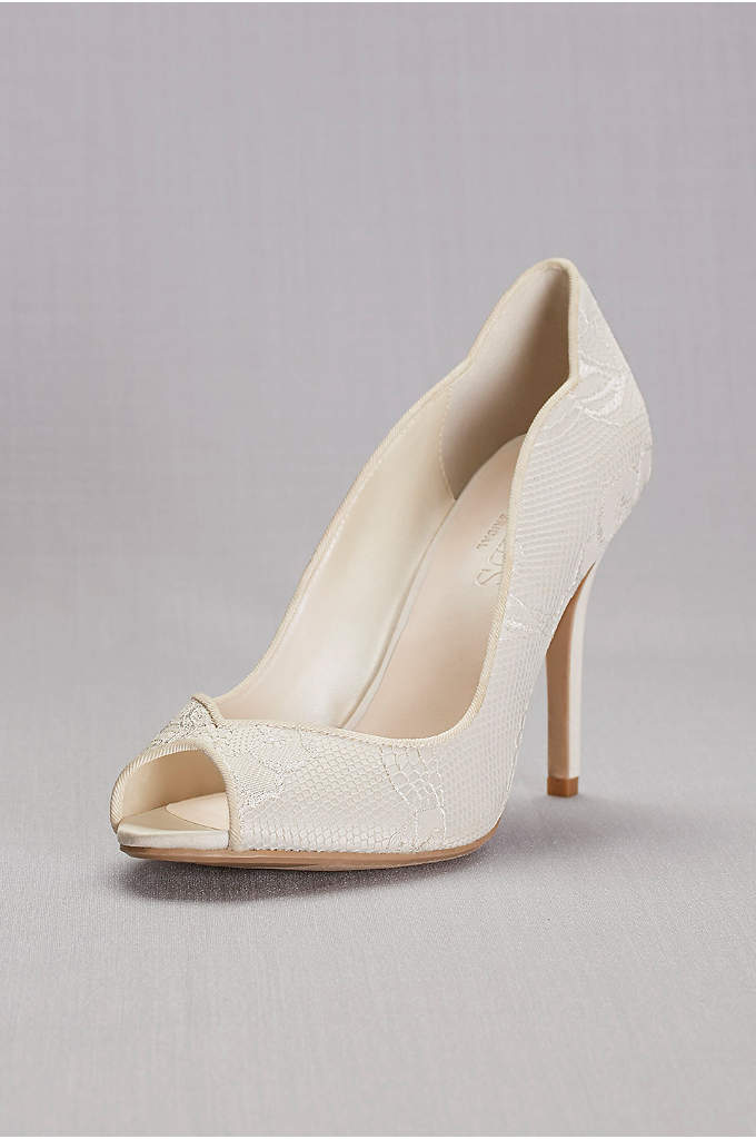 Lace Peep Toe Pump - Stunningly simple yet elegant, these lace peep toe