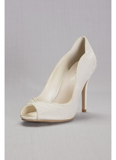 David's Bridal Ivory (Lace Peep Toe Pump)