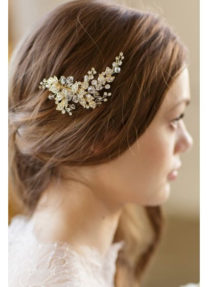Crystal-Encrusted Leaf Comb with Beads - Wedding Accessories