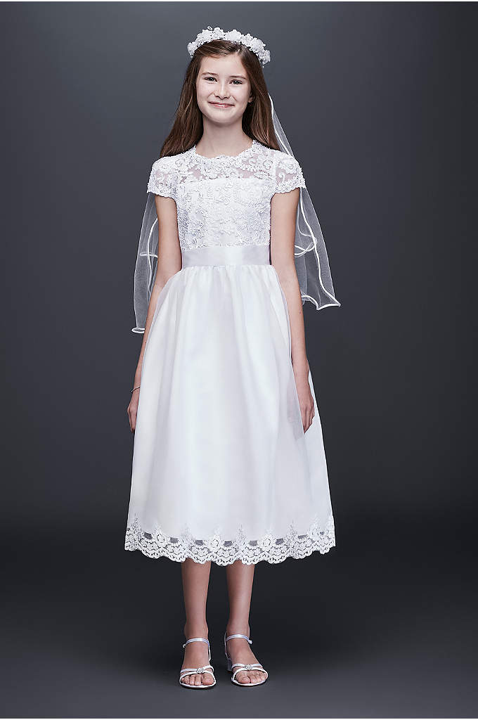 Illusion Flower Girl Dress with Appliqued Skirt - A sprinkle of beading at the neckline and