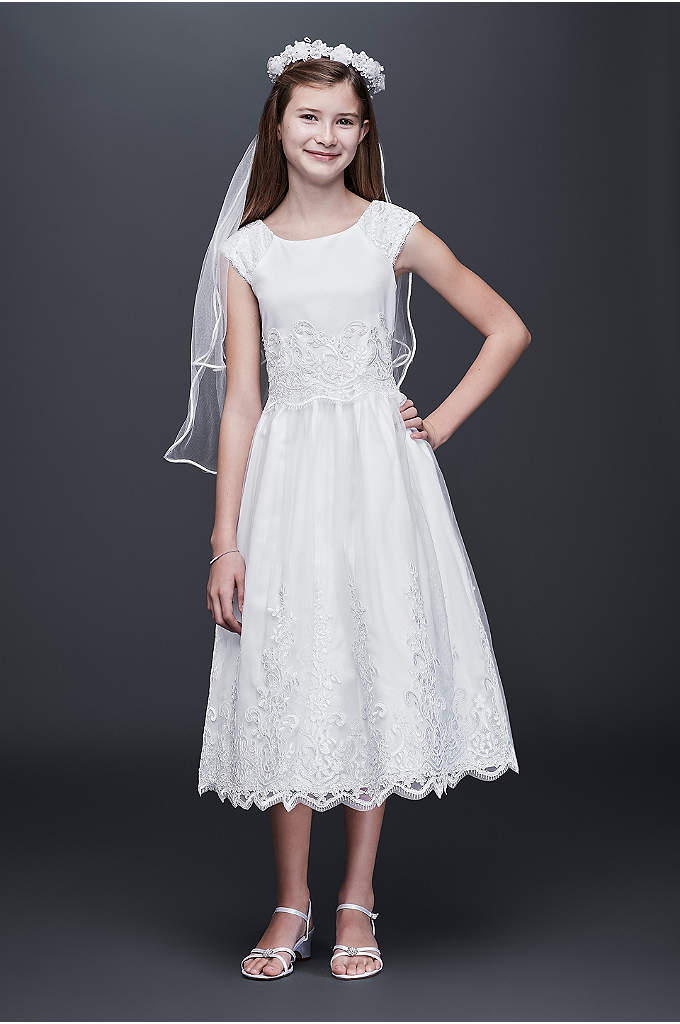 Appliqued Satin Communion Dress with Beaded Trim - This beautiful satin and tulle communion dress finished