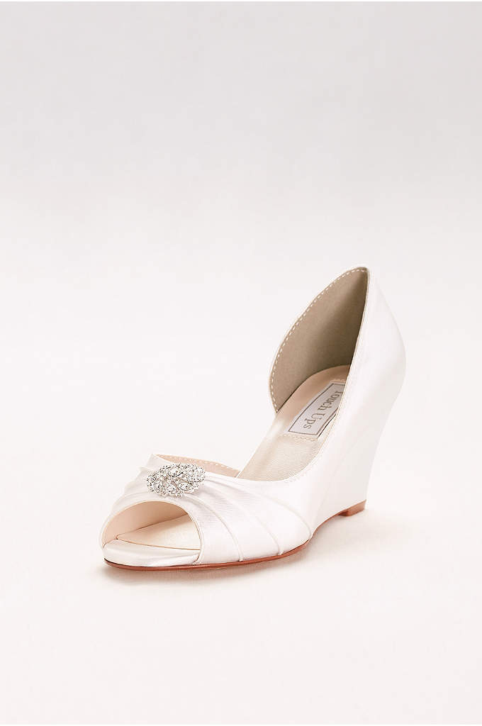 Dyeable D'Orsay Wedges with Crystal Accents - This elegant and leg-elongating d'orsay dyeable is a