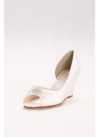 Touch Ups White (Dyeable D'Orsay Wedges with Crystal Accents)
