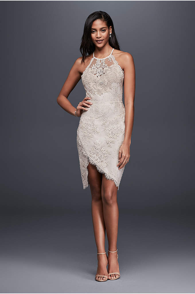 Lace Halter Mini Dress with Asymmetric Hem - Perfect for a bachelorette bash or rehearsal dinner,