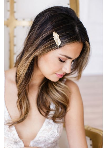 14k Gold-Plated Feather Bobby Pin - Wedding Accessories