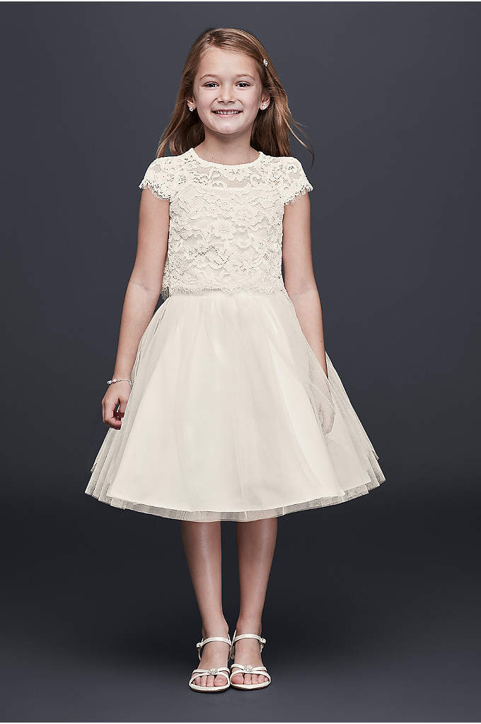 Lace and Tulle Two-Piece Flower Girl Dress - The two-piece trend is the perfect choice for