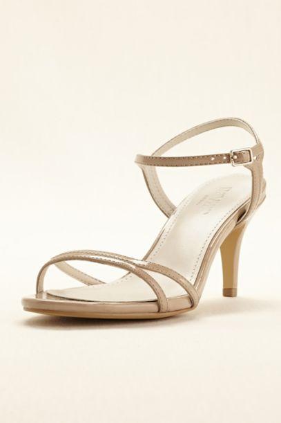 Patent Mid Heel Sandal - Davids Bridal