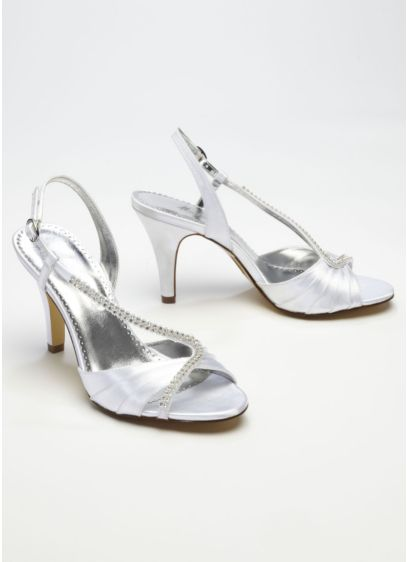 White (Dyeable Asymmetrical Crystal Sandal)