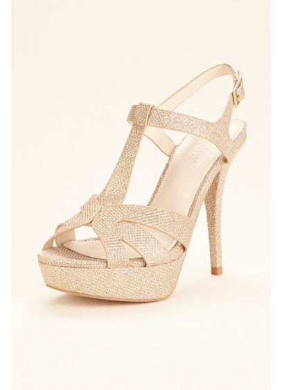 David's Bridal Grey (T Strap High Heel Platform Sandal)