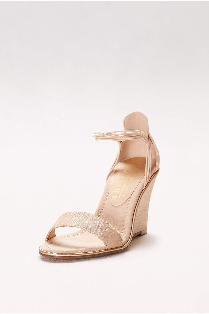 Textured Wedges with Elastic Ankle Straps