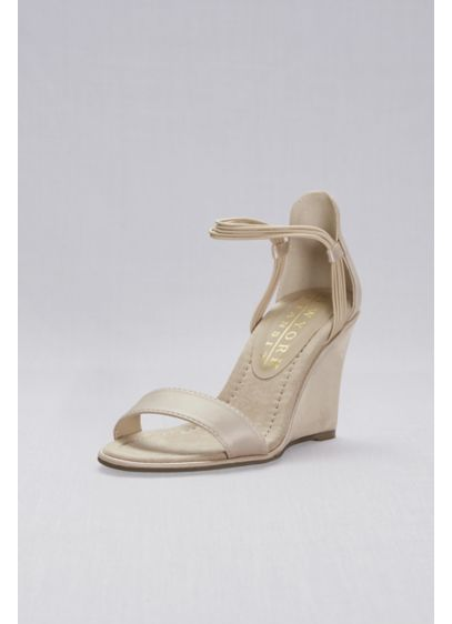 New York Transit Beige (Satin Wedges with Elastic Ankle Straps)