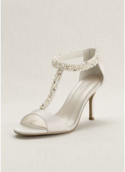 David's Bridal Ivory (Pearl and Crystal T-Strap Sandal)
