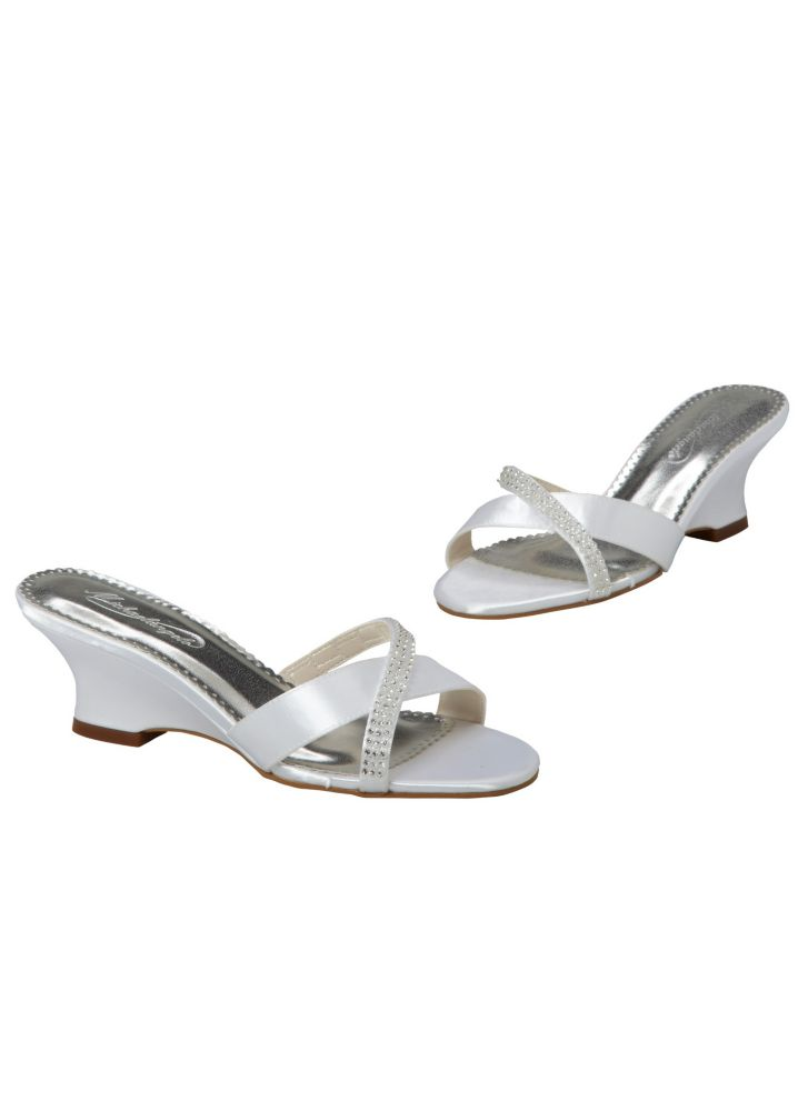 Davids Bridal Wedding Amp Bridesmaid Shoes Dyeable Wedge Sandal With Criss Cro