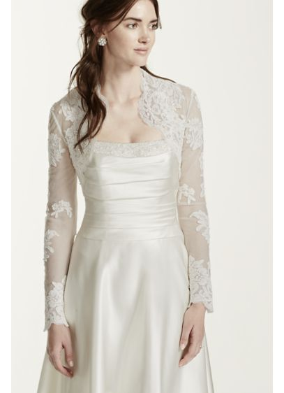 Long sleeve lace jacket davids bridal for Wedding dress long sleeve lace jacket