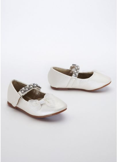 White (Flower Girl Mary Jane with Chiffon Bow)