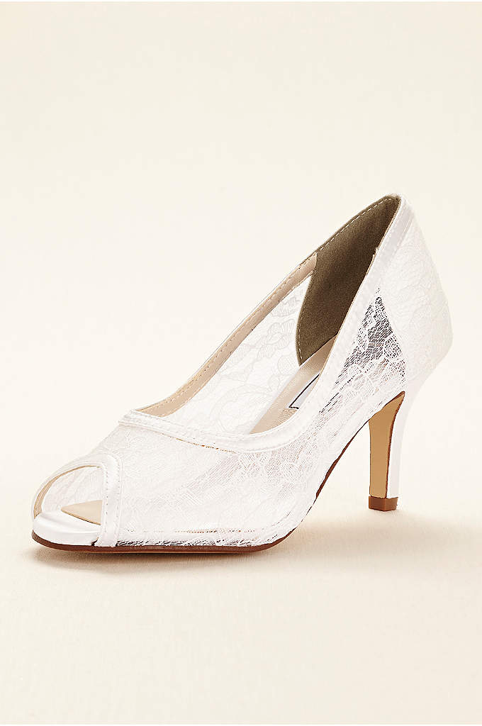 Dyeable Lace Satin Pump by Touch Ups - Feminine dyeable lace makes this satin peep toe