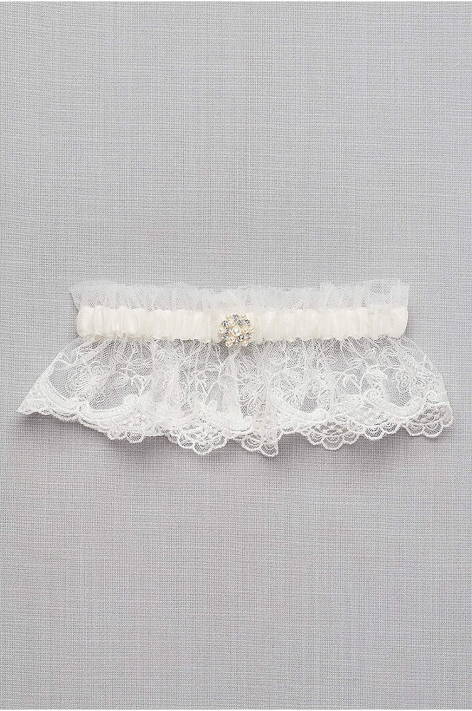 Scalloped Lace Garter with Pearl Detail - Luminous pearls and sparkling crystals accent the scalloped