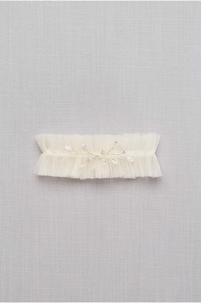 Hand-Wired Crystal and Tulle Garter - Hand-wired sprigs of pearl and crystal buds add
