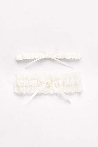 Set de Ligueros de Encaje Plisado y Perlas Con Moños de Listón.