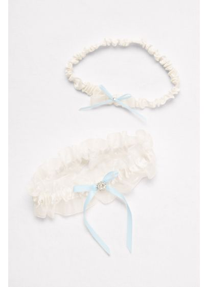 Ruffled Organza Garter Set with Ribbon Bows - Wedding Accessories
