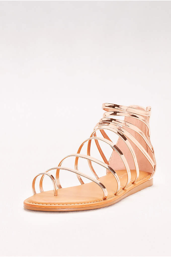 Simple Strappy Toe-Loop Gladiator Sandals - These super-strappy metallic gladiators are a chic, go-with-everything