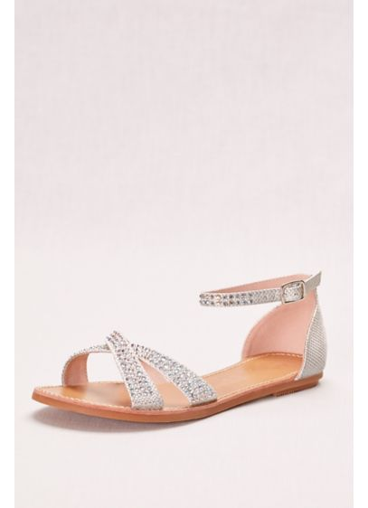 Crisscross Flat Sandal with Crystals - Wedding Accessories
