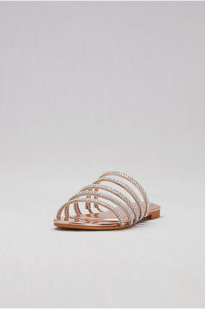 Strappy Jeweled Flat Slides - Perfect for slipping beneath your wedding gown or