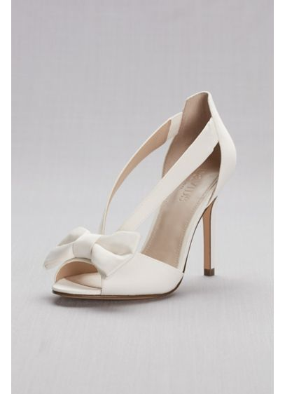 David's Bridal Ivory (Two-Piece Strappy Bow Pumps)