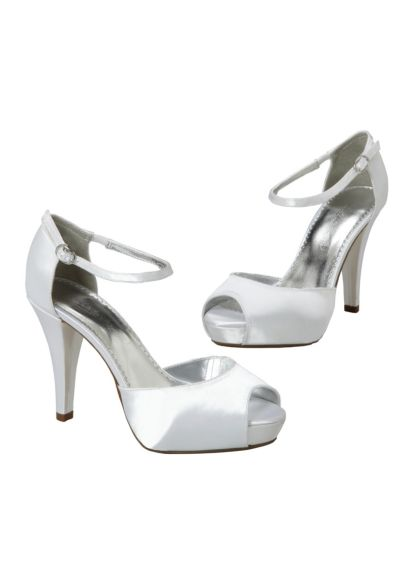 White (Dyeable Peep Toe Platform Heel with Strap)