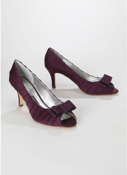 Purple (Satin Pleated Peep Toe Mid Heel with Bow)