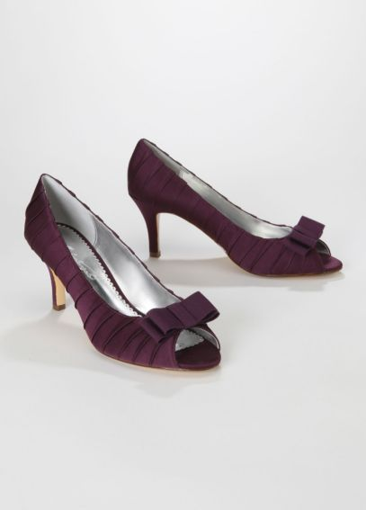 Satin Pleated Peep Toe Mid Heel with Bow MARIELLA