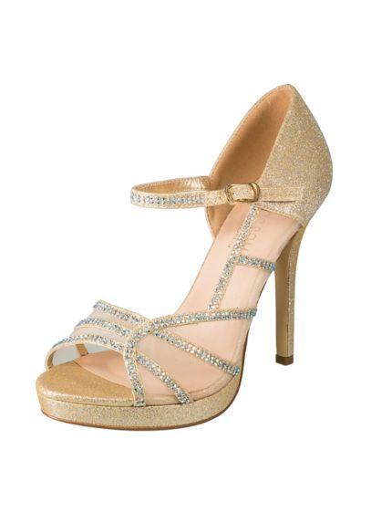 Blossom Ivory (Rhinestone-Scalloped Mesh Mary-Jane Platform Heels)
