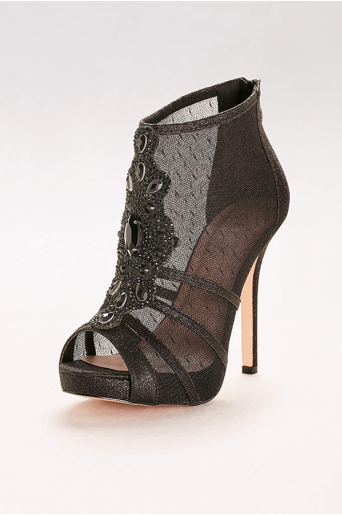 Mesh Peep-Toe Booties with Crystal Embellishment - This strappy mesh and crystal pair walks the